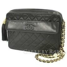 CHANEL Chain Shoulder Bag Lambskin CC Logo Black Fringe Italy Authentic ... - $1,479.55