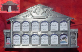 K-12  pewter school house childs glass picture kids desk table photo frame set - $22.00