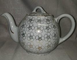 Vintage Hall USA Porcelain 12 Cup Teapot #0043 w/ Lid Grey Gold Floral D... - $89.05