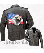 Black Solid Leather Motorcycle Jacket size XL Coat with American Eagle U... - $89.49