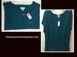 Jaclyn Smith Collections Tunic Blouse Sz 2X Short Sleeve Blue NWT - $11.99