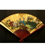"22 "" H Folding Chinese Wall Hand Painted Peacocks on Gold Background - $12.99"