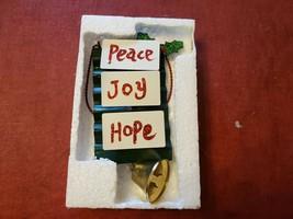 Peace Joy Hope Hanging Christmas Decor by Alpine Colorful Painted Finish... - $9.36