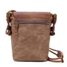 Sale, Leather with Canvas Crossbody Bag, Canvas Messenger Bag, Vintage Messenger image 3