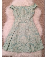 Top Shop Women's Dress Size 2 Green White Embroidered Cap Sleeve Fit Flare - $39.59