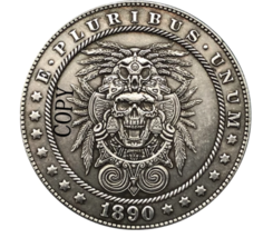 Hobo Nickel 1890-CC USA Morgan Dollar Skull Horror COIN For Gift  - $5.99