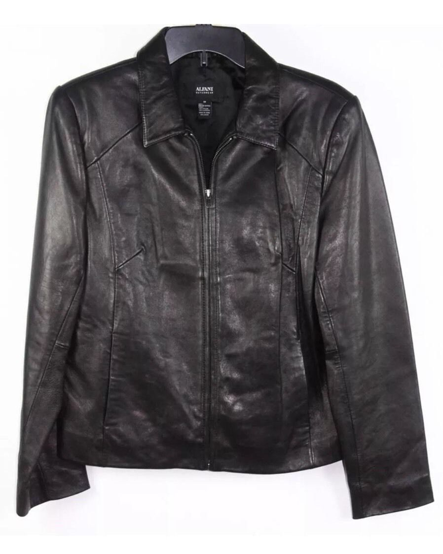Alfani Outerwear Black Genuine Leather Full-Zip Jacket Sz M