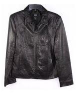 Alfani Outerwear Black Genuine Leather Full-Zip Jacket Sz M - $60.00