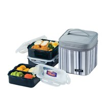 Lock & Lock Square Lunch Box 3-Piece Set with Insulated Stripe Bag, Gray - $49.49