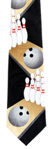 Bowling Alley Mens Necktie Novelty Sports Ball Pins Bowler Gift Black Ne... - $14.95