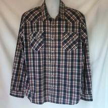 Levis Levi's White Tab Plaid Long Sleeve Western Pearl Snap Shirt XL - $9.74