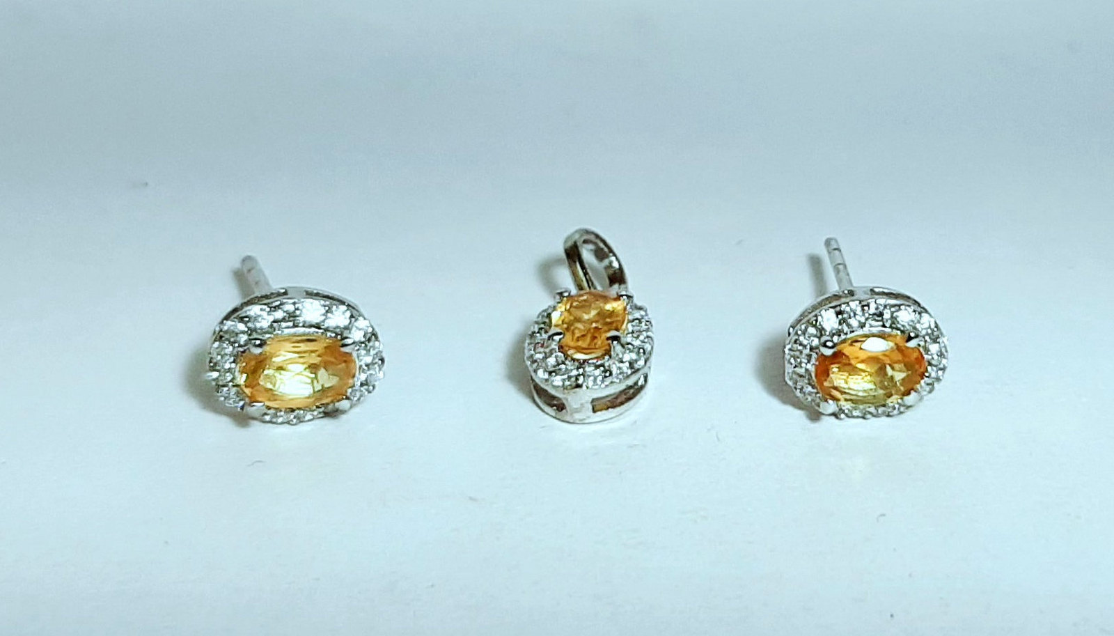 925 Sterling Silver Natural Citrine And Cz Gemstone Handcrafted Design Women's E