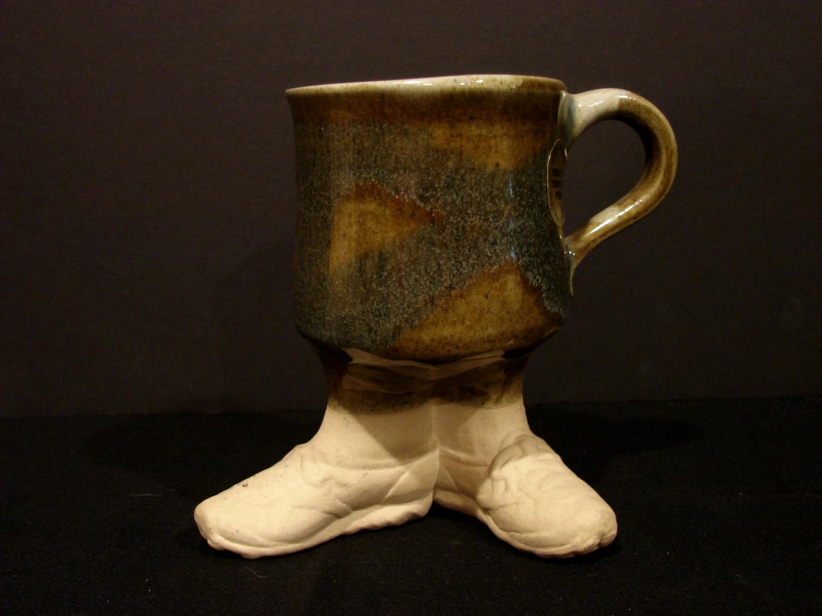 1980 Foot Sneakers Pottery Coffee Mug Signed Five Bridges Inc - $9.90