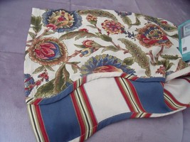 NEW WAVERLY Grand Bazaar VALANCE Floral Layered Scallop Edge Blue Red Green - $19.30