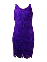 2562-2 Lauren Ralph Lauren Women's Purple Sleeveless Lace Sheath Dress 16P $184 - $63.87