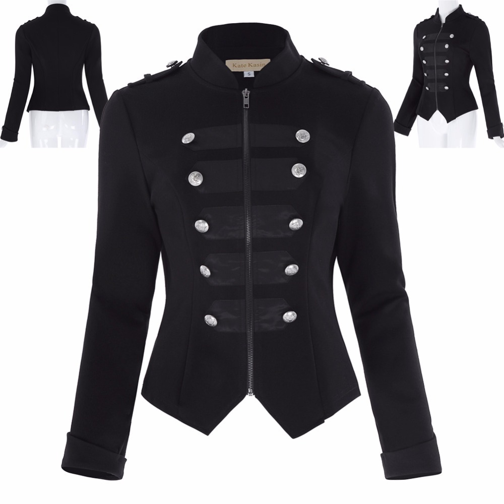 Women Retro Front Military style Shirt Buttons Decorated ...