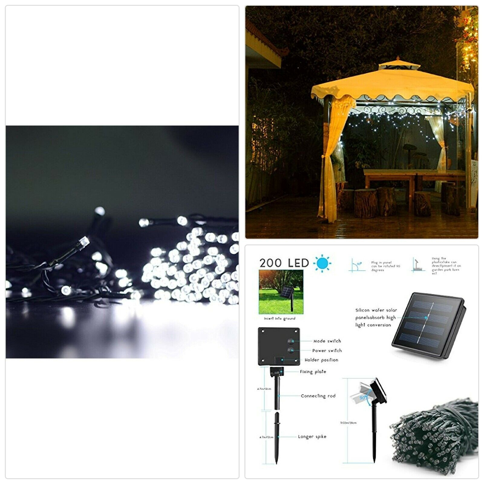lalapao 2 pack solar string lights 72ft 22m 200 led 8 modes solar powered o string lights