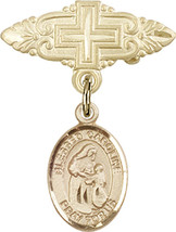 14K GF Baby Badge with Blessed Caroline Gerhardinger Charm Pin 1 X 3/4 inch - $89.30