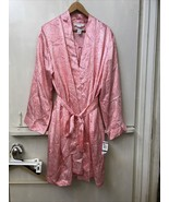 Morgan Taylor Intimates Spotted Pink Satin Short Robe & Gown Set Size XL... - $38.95