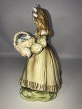 Vintage Lefton Girl Carrying A Basket Of Flowers Floral Figurine KW335C - $20.74