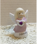 Discontinued PRECIOUS MOMENTS Miniature FEBRUARY Birthday Angel Figurine - $9.00