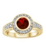 1.40 CT Garnet Halo Engagement Bezel Set Wedding Ring 14K  Yellow Gold Fn - $89.99