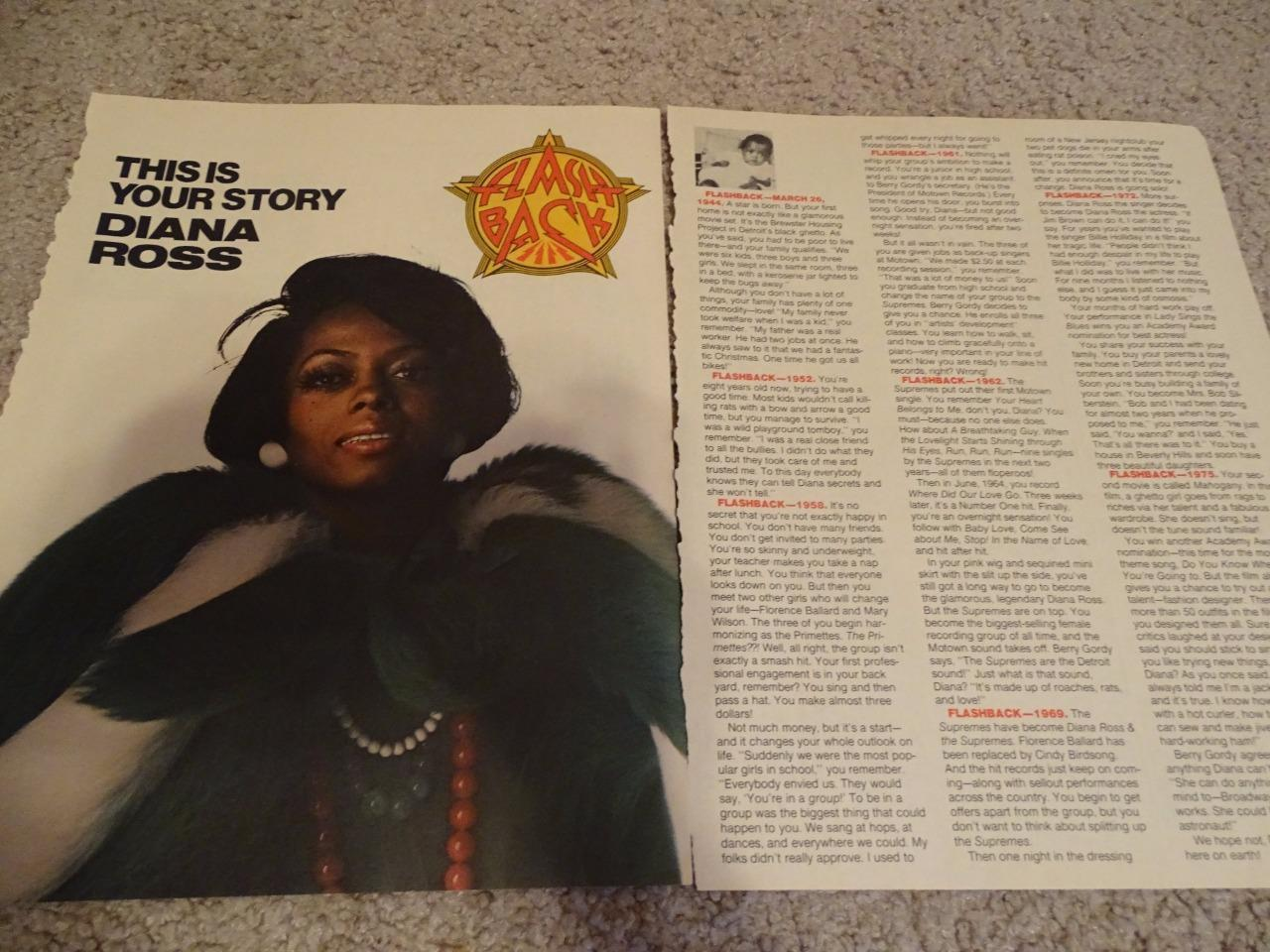 Diana Ross teen magazine pinup clipping Bop Tiger Beat Superteen Rare