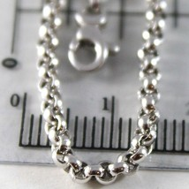 18K WHITE GOLD CHAIN 23.60 IN, DOME ROUND CIRCLE ROLO LINK 2.5 MM, MADE IN ITALY image 2