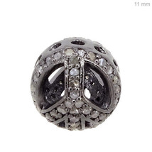 11 MM Pave Diamond Spacer .925 Sterling Silver Ball Bead Vintage Finding... - $149.29