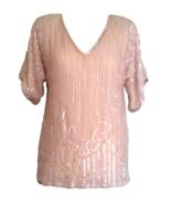 80s BNWT Frank Usher 100% Silk Coral Blush Pink Rainbow Sequinned Beaded... - $53.00