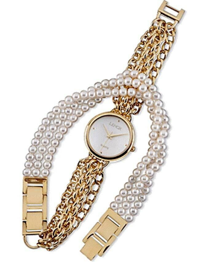 Primary image for Lenox Golden Embrace Watch & Bracelet Wrap Around 2 PC Set Faux Pearl & Gold New