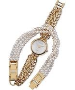 Lenox Golden Embrace Watch & Bracelet Wrap Around 2 PC Set Faux Pearl & ... - $85.90