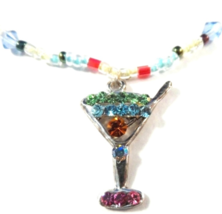Drink Cocktail Anklet Multicolor Aqua Crystal Charm Dangle Bead Beaded Band - $19.99