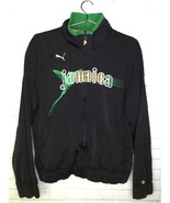 Puma Jamaica Black Full Zip Track Lightweight Sweater Jacket Mens Size L - $34.27