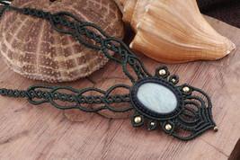 Amazonite KALI Boho Jewelry, Healing Crystal Macrame Bridal Necklace Boh... - $18.00