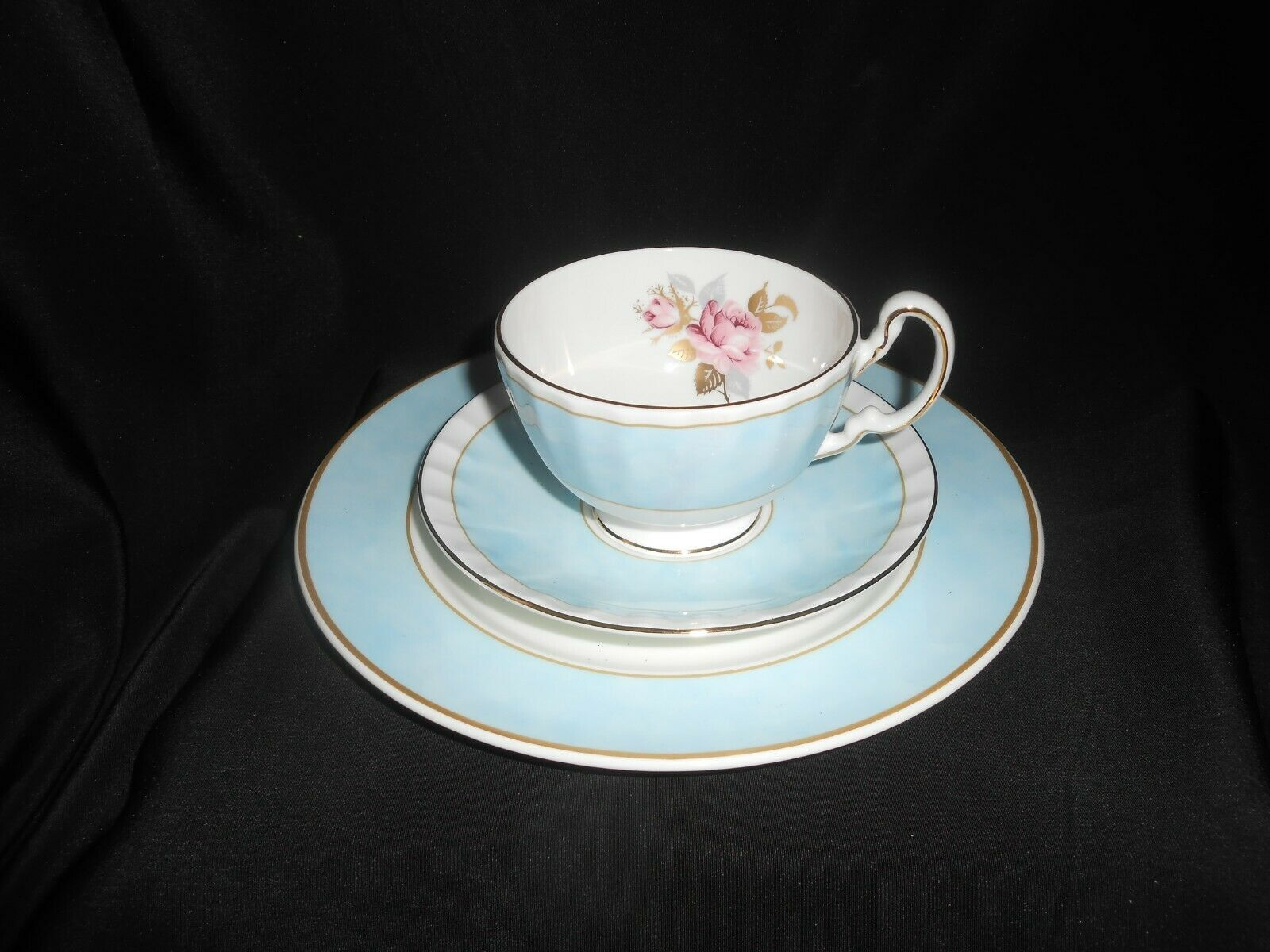 Aynsley Tea Trio Pale Blue Pink Cabbage Rose 3 Piece Set Vintage China