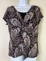Perseption Women Size M Purple Paisley Blouse Black Under Shirt Sz Tg Mi... - $13.86