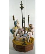 "Vintage 13"" Heyco Wooden Music Box 3 Hand Painted Porcelain Horses Carou... - $47.49"