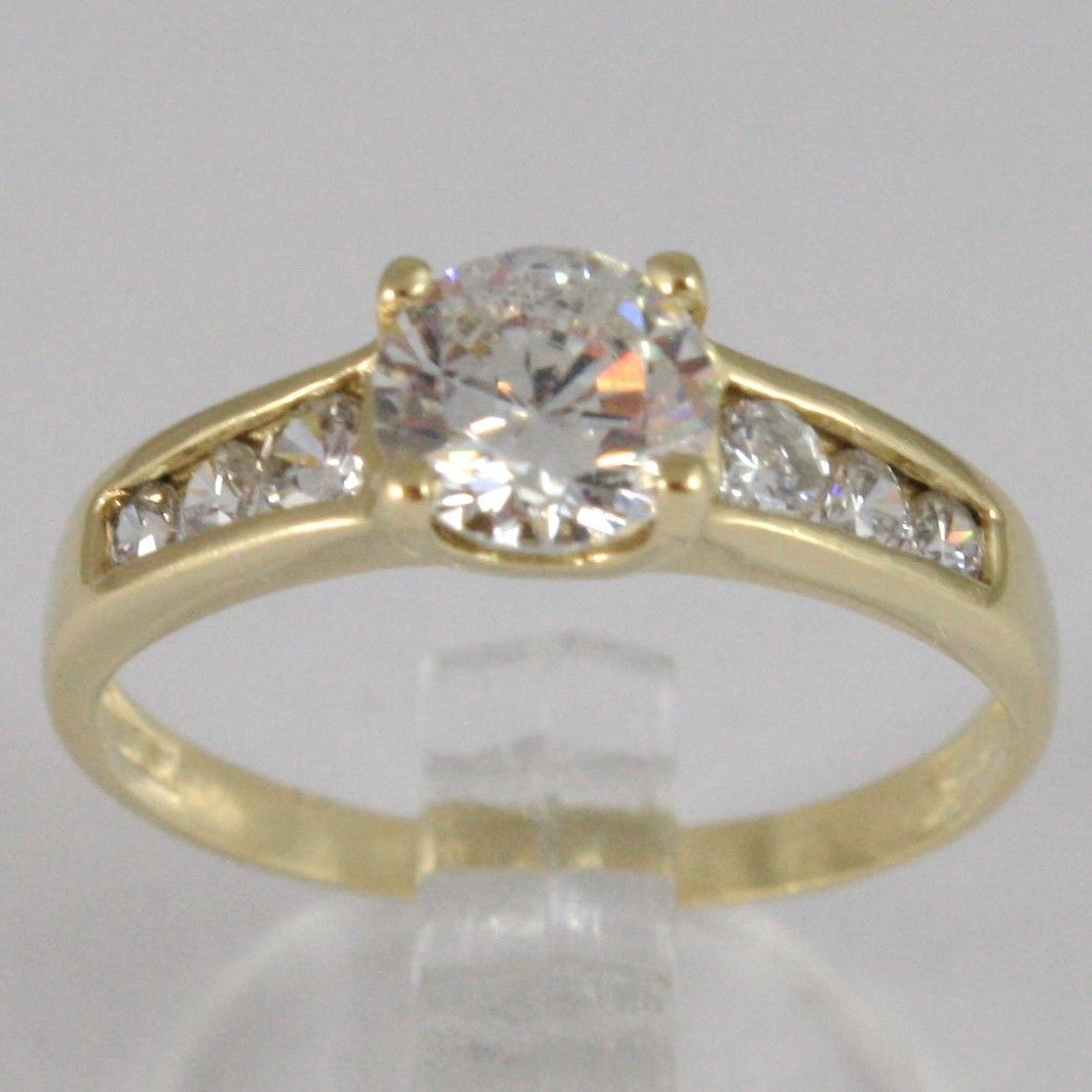 YELLOW GOLD RING 750 18K, SOLITAIRE ZIRCON CUBIC CT 0.95, MADE IN ITALY