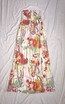 OLD NAVY STRAPLESS FLORAL MAXI DRESS WHITE/ORANGE/GREEN/YELLOW JUNIORS S... - $335,73 MXN