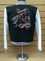 Varsity Collage Baseball BLACK/WHITE Fleece Jacket Iive To Ride Biker - $29.69