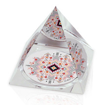 "Geometric Pattern Illustration Art 2"" Crystal Pyramid Paperweight - $15.99"
