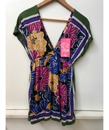 ONE CLOTHING Multicolor Floral Tunic Top Deep V-Neck Clover Up Size SMAL... - $17.95