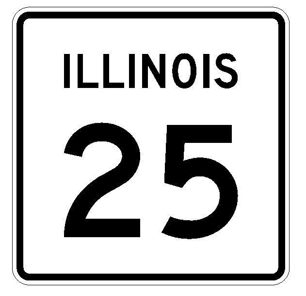 Illinois State Route 25 Sticker R4318 Highway Sign Road Sign Decal