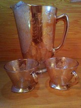 Vintage Carnival Glass 3 pc. Pitcher And Cup Set Antique Iridescent - $29.95