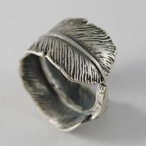 SOLID 925 BURNISHED SILVER BAND RING FEATHER PLUME FINELY WORKED, MADE IN ITALY image 3