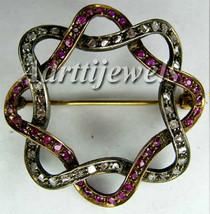 Victorian 1.20ct Rose Cut Diamond Ruby Christmas Wedding Brooch/Pin Vintage - $475.31
