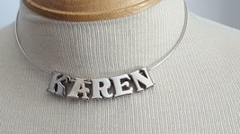 SILVERTONE METAL PERSONALIZED KAREN WIRE LETTER CHOKER NECKLACE, BALL HOOK, - $4.94