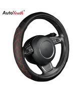 AutoYouth® PU Leather Car Steering Wheel Cover Black Lychee Pattern With... - $18.89