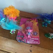Lot of Small Pink w Orange Hair Aqua Blue TROLL Lot  – largest one is 4 ... - $14.89